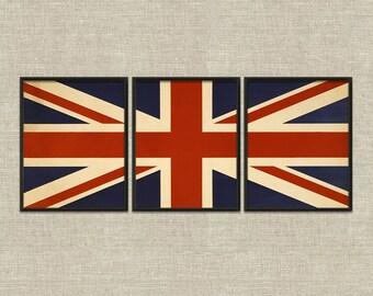 Union Jack British flag vintage printable wall art décor set of 3 triptych
