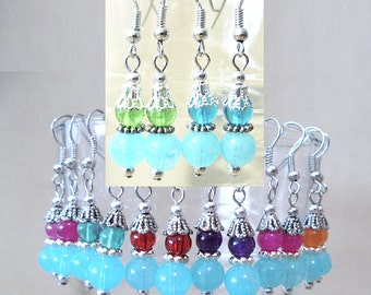 Silver Filigree Beaded Earrings, Stacked Turquoise & Accent Bead Earrings, Handmade Beaded Jewelry, Turquoise Earrings, Glass Bead Earrings