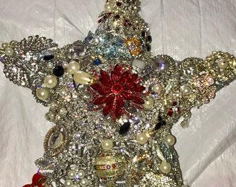 Rhinestone and Crystal Star Tree Topper
