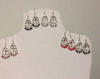 Silver Plated Chandelier Teardrop Earrings with Swarovski Elements Crystals and Silver Plated Earring Wires