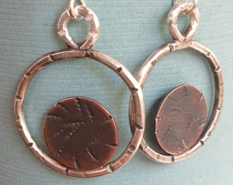 sterling silver and copper circle dangle earrings