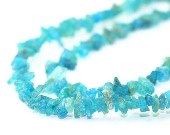 Apatite Rough Crystal Beads 2 Inch Strand Neon Carribean Blue Semi Precious Gemstone