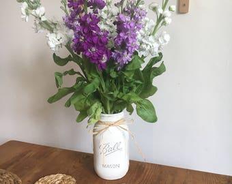 Hand Painted Distressed Mason Jar, Country Chic Design White Grey Stars
