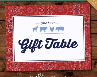 County Fair Collection - Printable Gift Table Sign - 2 Options -- Instant Download