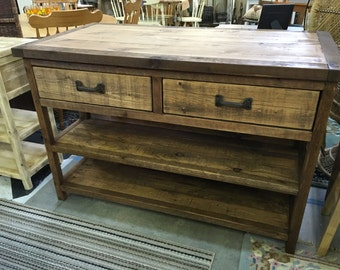Reclaimed or Barn Wood Island with Stool Storage or Customized as Console Table, Buffet, Sideboard, Farmhouse Table
