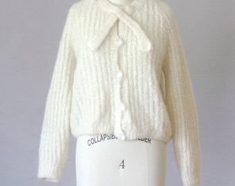 Pull en mohair crème Maryanne | Pull en laine des années 1970 | Pull vintage des années 70