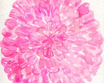 Pink Zinnia Flower Watercolor Painting  Original 4 x 6, pink flower painting, original watercolor of pink flowers, zinnias small art floral