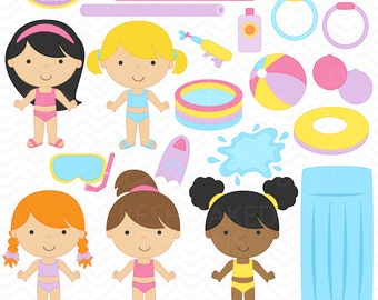 pool party digital clipart clip art girls swimsuit toys summer birthday beach ball tubes sun - Pool Party Girls Clipart - BUY 2 GET 2 FREE
