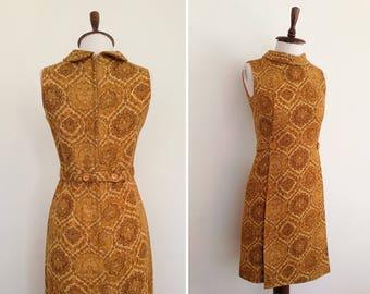 1960's Dress // Wool 60's Mustard Color Vintage Dress // S
