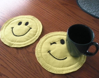 Happy Face Mug Rugs (2)