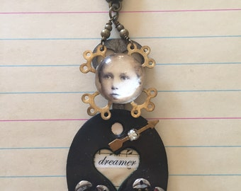 Mixed media jewelry pendant old key and vintage parts