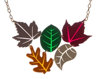 Autumn Leaves Cluster necklace - laser cut acrylic perspex mirror fall october september leaf green foliage