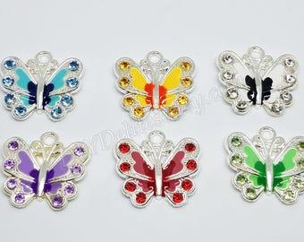 Butterfly Charm, Rhinestone Butterfly Charm, Butterfly Pendant, Crystal Butterfly Pendant, Rhinestone Charm, Enamel Butterfly Charm, Pendant