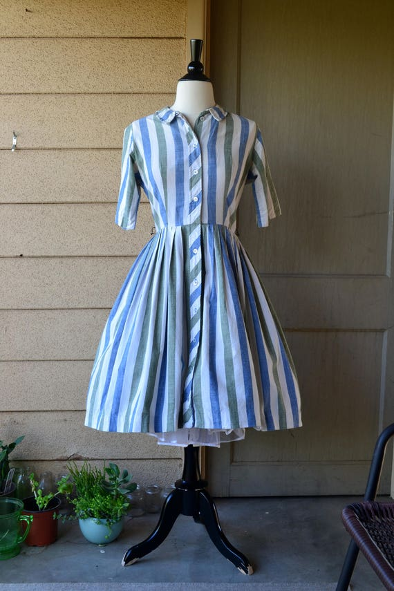 Galway Girl Dress | 50's striped cotton shirtwaist dress | blue green | small
