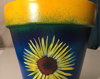 """Sunflower hand painted pot 8"""" tall 8 inch wide"""