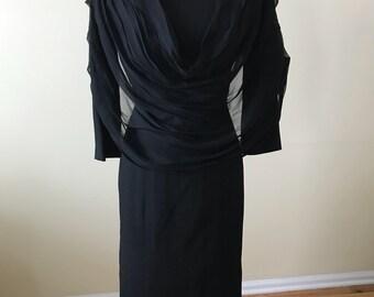 Le Michel of California black dress/ 1970s dress