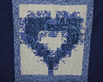 Blue Floral Heart Pillow Quilt Top Unfinished Flower Block Wreath Cotton 23 x 26 in