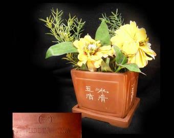Chinese flower pot - indoor pot planter - gifts for gardeners - Bonsai pot - Terracotta pots - flower pot with saucer -  # 29