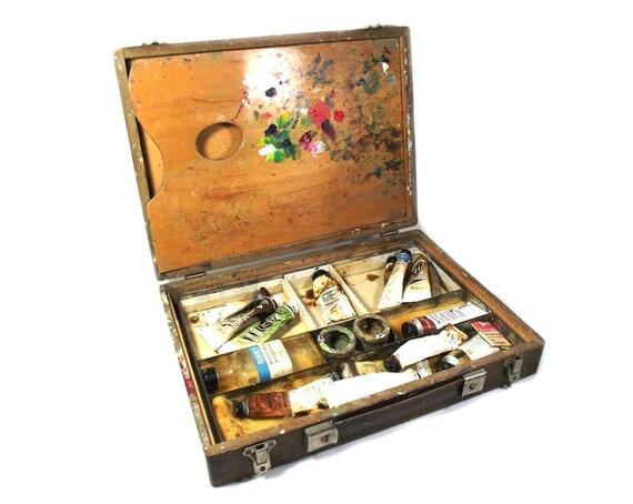 Vintage Artists Box with Contents, Art Box, Wooden Art Box, Artists Materials, Artists Gift, Art Tool Box, Art Display, Art Lover Gift