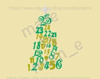 25 Days Calendar Tree Embroidery Design