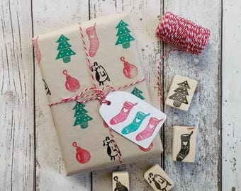 Christmas stamp set - bauble stamp - stocking stamp - Xmas tree stamp - robin Stamp - Holiday stamps - Christmas gift wrapping