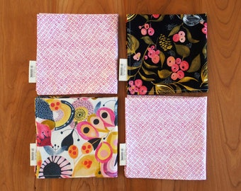 Pink and Black Cocktail Napkins with Flowers and Berries, Lunchbox Napkins, Small Napkins, Mix and Match, Floral Waterfall, Reusable Napkins