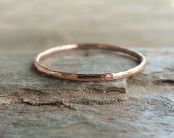 Tiny Solid 14k Rose Gold Thread Micro Stacking Halo Ring in Choice of Finish - Hammered, Brushed / Matte / Satin, or Smooth - 1mm Gold Ring