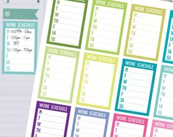 Planner Stickers - Weekly Work Schedule Sidebar Sticker - Fits Erin Condren and Happy Planner
