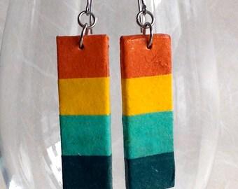 Rainbow Striped Hanji Paper Earrings OOAK Patchwork Orange Yellow Green Hypoallergenic hooks Dangle Earrings Lightweight Colorful Earrings