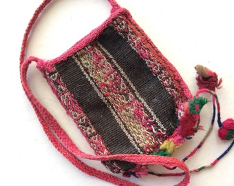 Vintage Woven Chuspas Pouch with Strap from South America, Boho