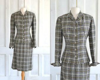 40s Hour Glass Suit 50s Unworn Wool Plaid Wiggle Suit Hourglass Lauren Bacall Nior Suit