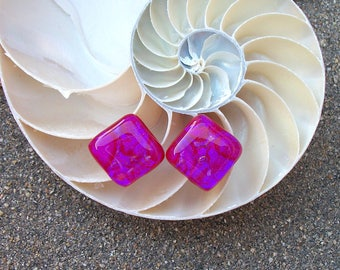 Red Purple Pink Dichroic Glass Stud Earrings