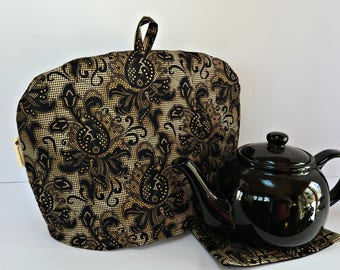 Black Lace - Quilted Dome Tea Cozy with Trivet