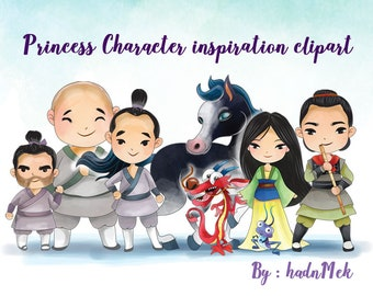 Traditional Princess character clipart Instant Download,PNG file - 300 dpi.