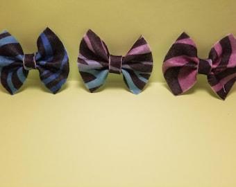 Rainbow Zebra print bow