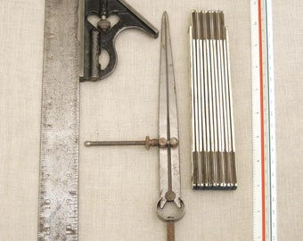 Vintage Ruler Collection, Measuring Device, Folding Ruler, Level, Calipers, Angle, Shop Tools, Studio, Measurement, Metal, Wood, Grouping