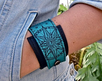Leather Cuff Wrap Bracelet, Equinox Print in Black & Turquoise * SALE * Coupon Codes