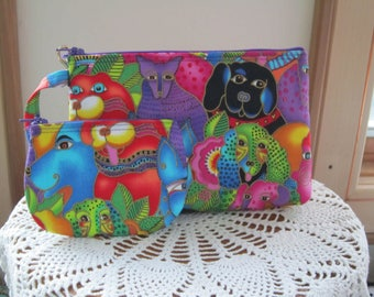 Dog Clutch, Smart phone Case, Gadget Dog Pouch, Dog Wristlet, Made in USA Set, Rare Dog fabric