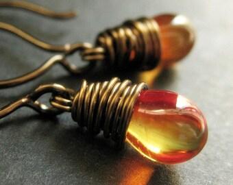BRONZE Earrings - Fire Earrings. Fiery Orange Yellow Drop Earrings. Wire Wrapped Earrings. Handmade Jewelry.