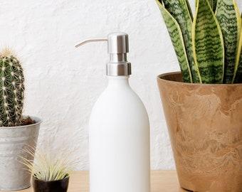 Matt White Glass Soap Dispenser With Stainless Steel Pump