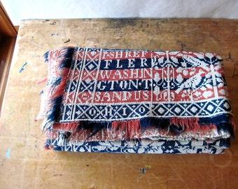 Antique Wool Jacquard Coverlet, Vintage Wool Blanket, Overshot Coverlet, Throw Blanket, Vintage Linens, Red Blue Blanket, Antique Bedding