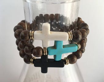 Cross Stretch Bracelet, Stretch Bracelet, Wood Stretch Bracelet, Boho Bracelet, Cross Bracelet