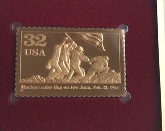 First Day Of Issue 22k Gold Replica Stamp - World War II Marines on Iwo Jima