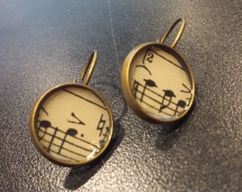 Vintage Sheet Music Earrings Antique Bronze 14 mm, Music Teacher, Musician, Recital, Unique Gift, Mother's Day