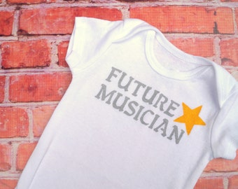 Future Musician -- (0-3M Size baby bodysuit) -- Soft Gray Text and Bright Yellow Star