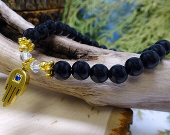 Black Magnesite Beaded Bracelet with Hamsa Charm