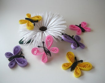 Paper Quilled Butterfly Scrapbook, Card Making Embellishment, Cupcake Topper, Wedding Party Table Decorations