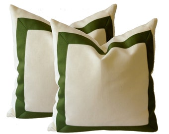 Decorative Throw Pillow Cover in White Cotton Canvas with Oilve Green Grosgrain Ribbon Border -16x16 To 12x24  Cushion Covers