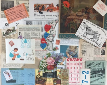 Vintage paper ephemera pack - Junk journal smash book 30 pieces - Advertising game cards puzzle magazine clippings Valentine cigarette card