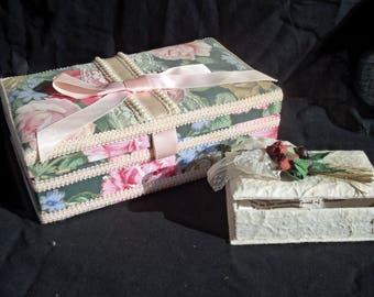 Vintage Jewelry Box's. Set of 2 Jewelry Box,Handmade Jewelry Box,Cloth Jewelry Box,Hand Made From bark of a Tree Box,L.M.Collection Box